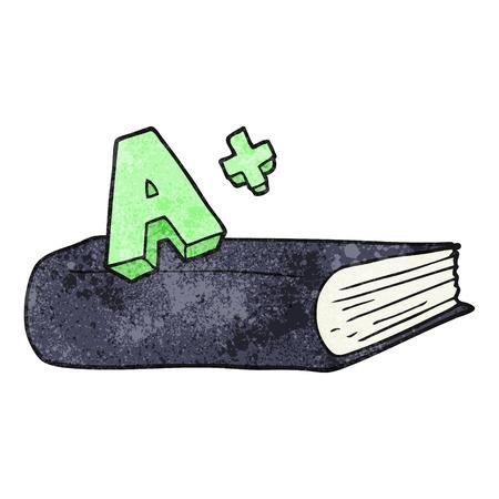 grade: freehand textured cartoon A grade symbol and book