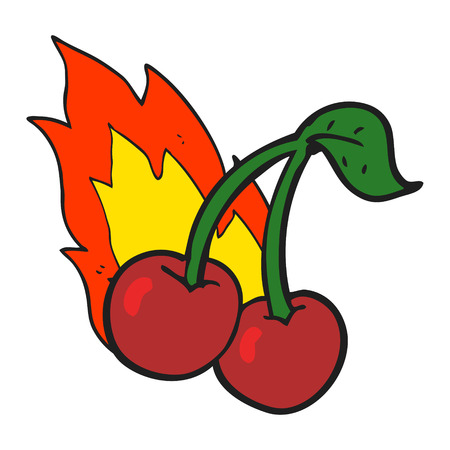 flaming: freehand drawn cartoon flaming cherries