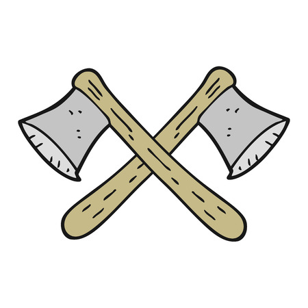 axes: freehand drawn cartoon crossed axes