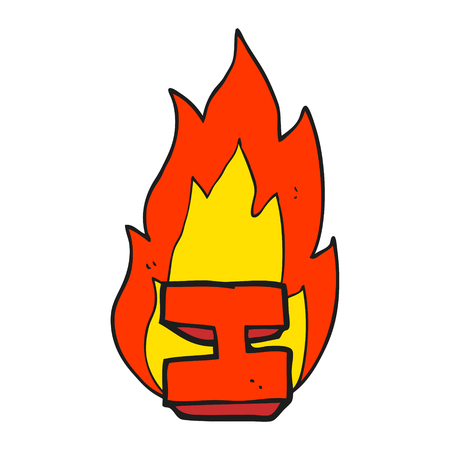 flaming: freehand drawn cartoon flaming letter I
