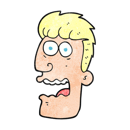 shocked man: freehand textured cartoon shocked man Illustration