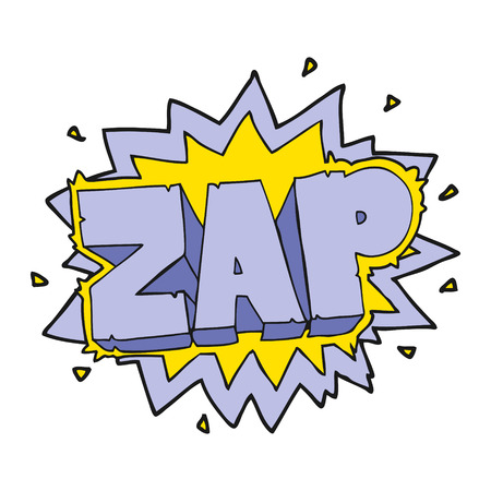 zap: happy freehand cartoon zap explosion sign Illustration