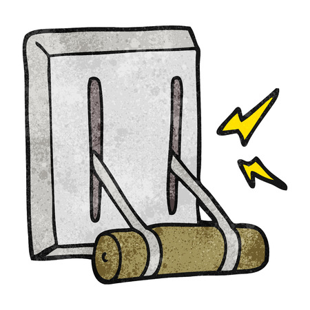 switch on: freehand textured cartoon electrical switch