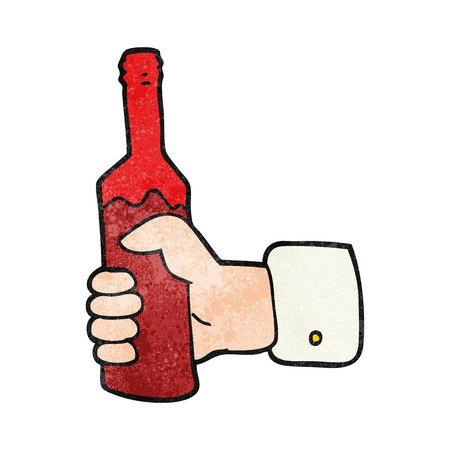 hand holding bottle: freehand textured cartoon hand holding bottle of wine