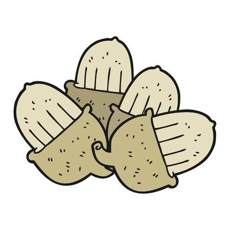 acorns: freehand drawn cartoon acorns