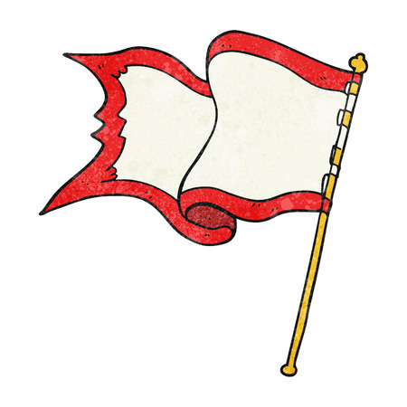 blowing: freehand textured cartoon flag blowing in wind