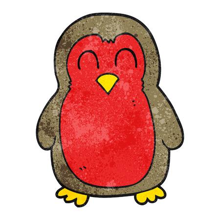robin: freehand textured cartoon christmas robin Illustration