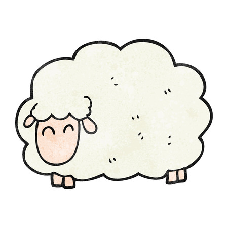 textured: freehand textured cartoon sheep Illustration