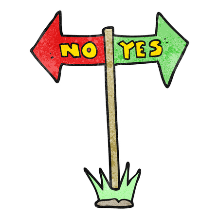 yes or no: freehand textured cartoon yes and no sign