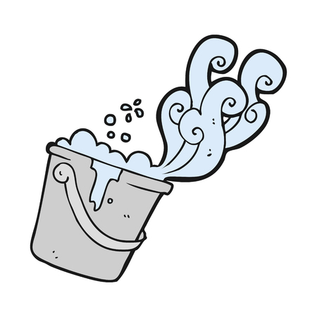 soap suds: freehand drawn cartoon cleaning bucket Illustration