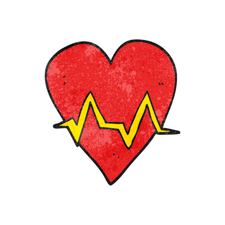 pulse: freehand textured cartoon heart rate pulse symbol Illustration