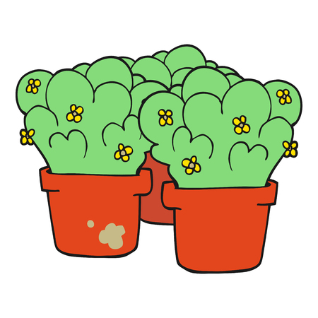 potted: freehand drawn cartoon potted plants Illustration