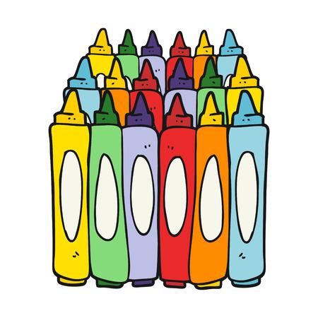 uit de vrije hand getekende cartoon kleurpotloden Stock Illustratie