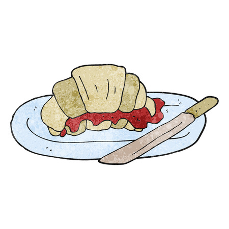 textured: freehand textured cartoon croissant