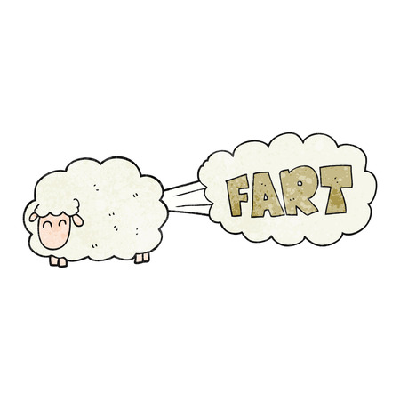 farting: freehand textured cartoon farting sheep