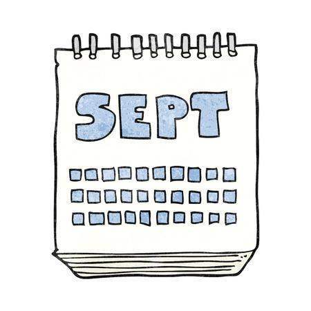 september: freehand textured cartoon calendar showing month of September