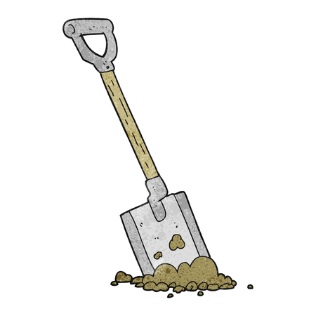 shovel in dirt: freehand textured cartoon shovel in dirt Illustration