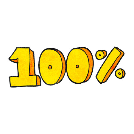 per cent: freehand textured cartoon 100 per cent symbol