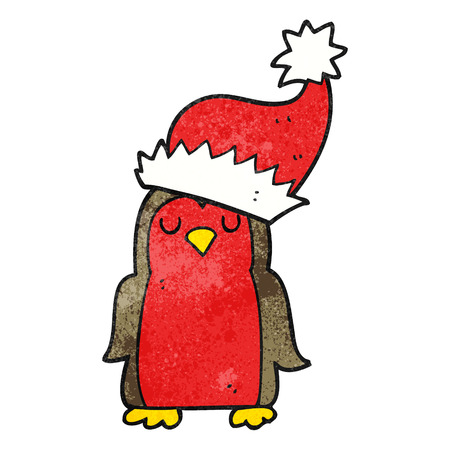 christmas robin: freehand textured cartoon christmas robin Illustration