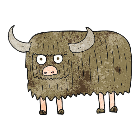 hairy: freehand textured cartoon hairy cow