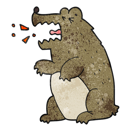 freehand textured cartoon bear