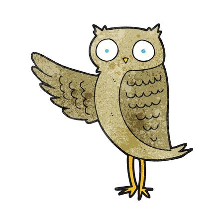freehand textured cartoon owl