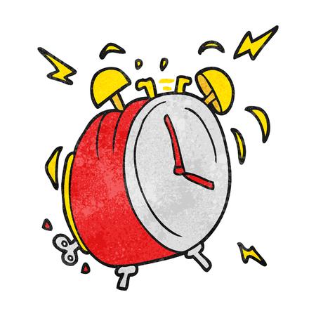 ringing: freehand textured cartoon ringing alarm clock