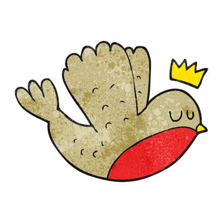 corona navidad: a mano alzada con textura de dibujos animados volando robin navidad con la corona