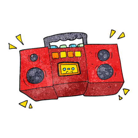 tape player: freehand textured cartoon cassette tape player Illustration