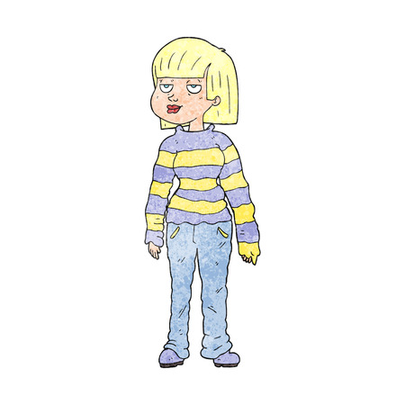chilled out: freehand textured cartoon woman in casual clothes