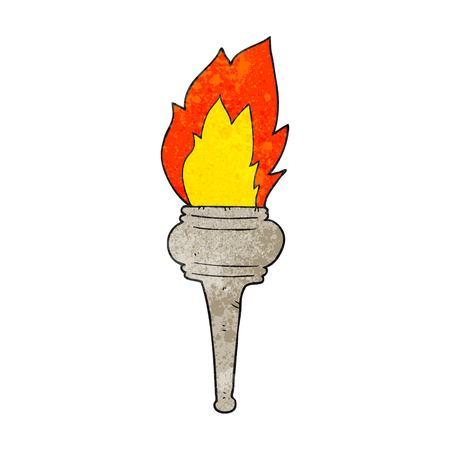 flaming: freehand textured cartoon flaming torch