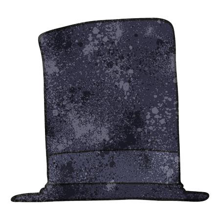 top hat: freehand textured cartoon top hat