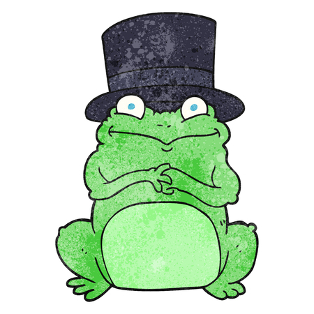 top hat cartoon: freehand textured cartoon frog in top hat Illustration