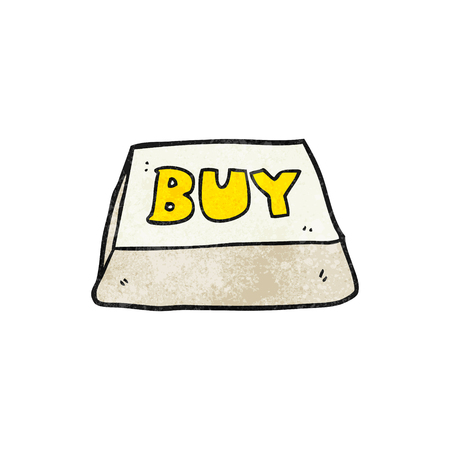computer key: freehand textured cartoon computer key buy symbol Illustration