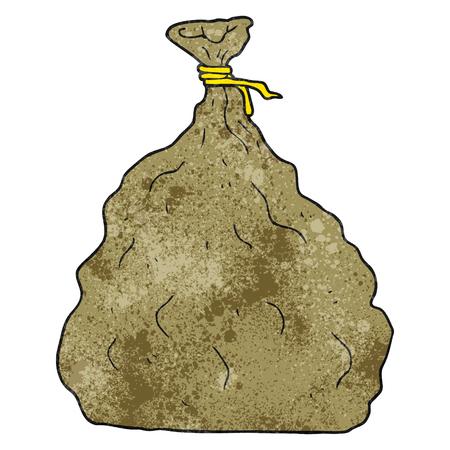 sack: freehand textured cartoon tied sack Illustration