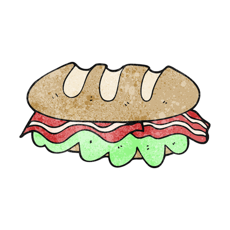 huge: freehand textured cartoon huge sandwich Illustration