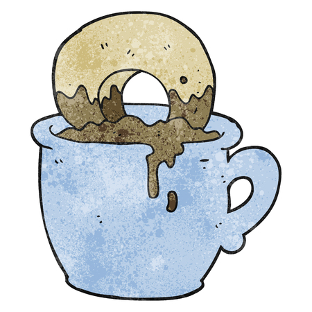 dunking: freehand textured cartoon donut dunked in coffee
