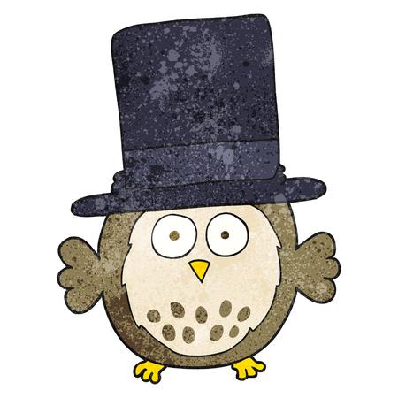 wearing: freehand textured cartoon owl wearing top hat