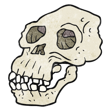 freehand textured cartoon ancient skull Vectores
