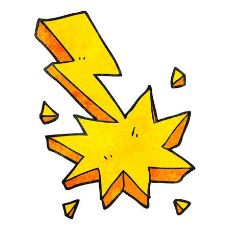 freehand textured cartoon lighting strike symbol