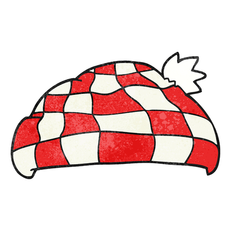 checked: freehand textured cartoon checked hat