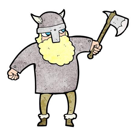 norse: freehand textured cartoon viking warrior Illustration