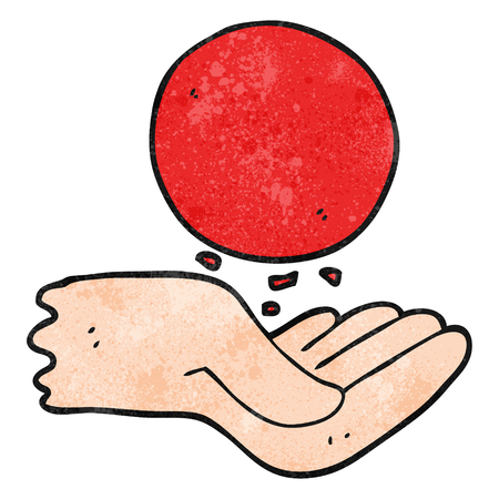 throwing: freehand textured cartoon hand throwing ball