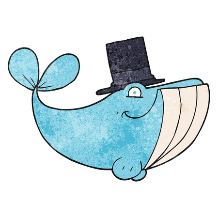 top hat cartoon: freehand textured cartoon whale wearing top hat Illustration