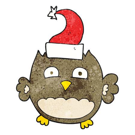 wearing: freehand textured cartoon owl wearing christmas hat