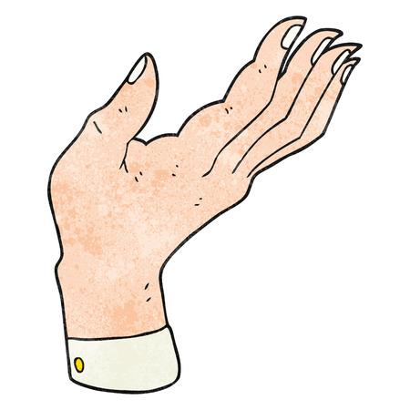 hand raised: freehand textured cartoon open hand raised palm up