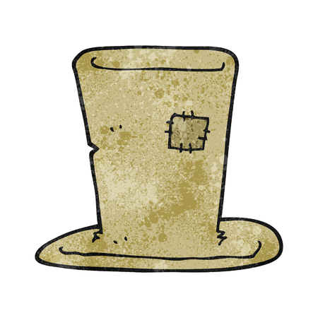 top hat cartoon: freehand textured cartoon tramp top hat Illustration