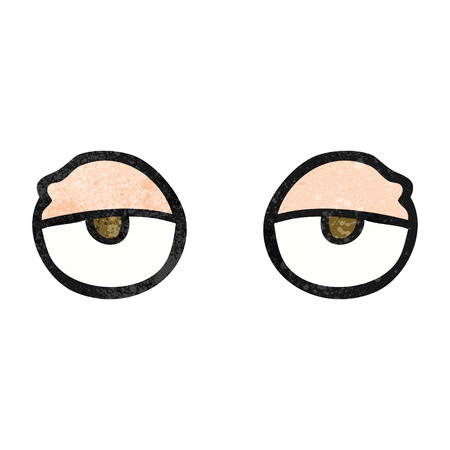 tired eyes: freehand textured cartoon tired eyes