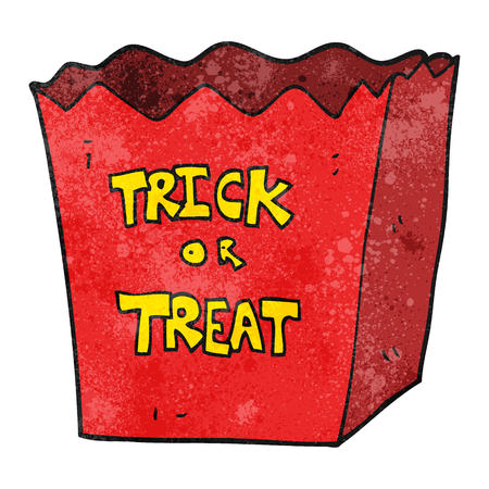 trick: freehand textured cartoon trick or treat bag Illustration
