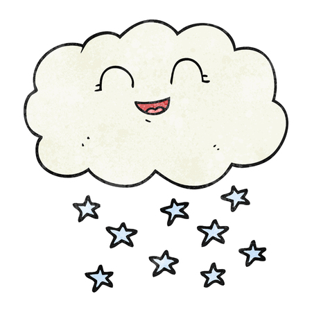 snowing: freehand textured cartoon cloud snowing Illustration
